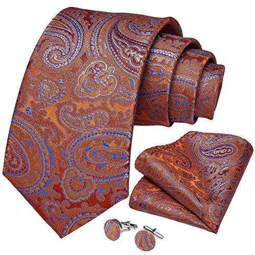 WOXHY Cravate Homme Orange Bleu Paisley Qualité Cravate De Mariage en Soie Boutons De Manchette Hanky Cadeau d'affaires Cravate Ensemble