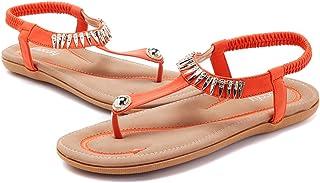 f8d4f25defa789 Gracosy Sandales Plates Femme, Tongs en Cuir PU Nu Pieds à Talons Plats  Chaussures de