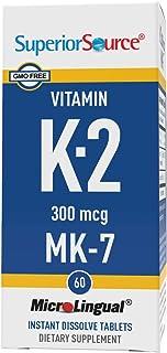 Superior Source Vitamin K2 MK-7 (Menaquinone-7), 300 mcg, Quick Dissolve Sublingual Tablets, 60 Count, Healthy Bones and A...