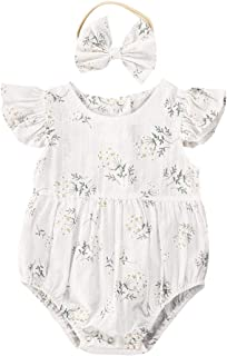 changchang Newborn Baby Girls Ruffle Short Sleeve Bodysuit Cotton Romper+Floral Shorts+Headband Infant 3PCS Toddler Cute Clothes Set Kid Summer Outfits Set for 0-24 Months