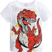 Alician Stylish Clothing Children Baby Boy Round Neck Short-sleeve Cartoon Dinosaur Printing T-Shirt white 90