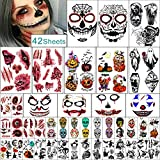 Yazhiji 42 Sheets Halloween Temporary Tattoos Family Set for Women Men Boys and Girls.…