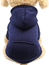 Pet Fleece Dog Hoodies, Basic Hoodie Sweater Cotton Jacket Sweatshirt Coat with Pocket for Small Medium Dog Cat (Navy, L)