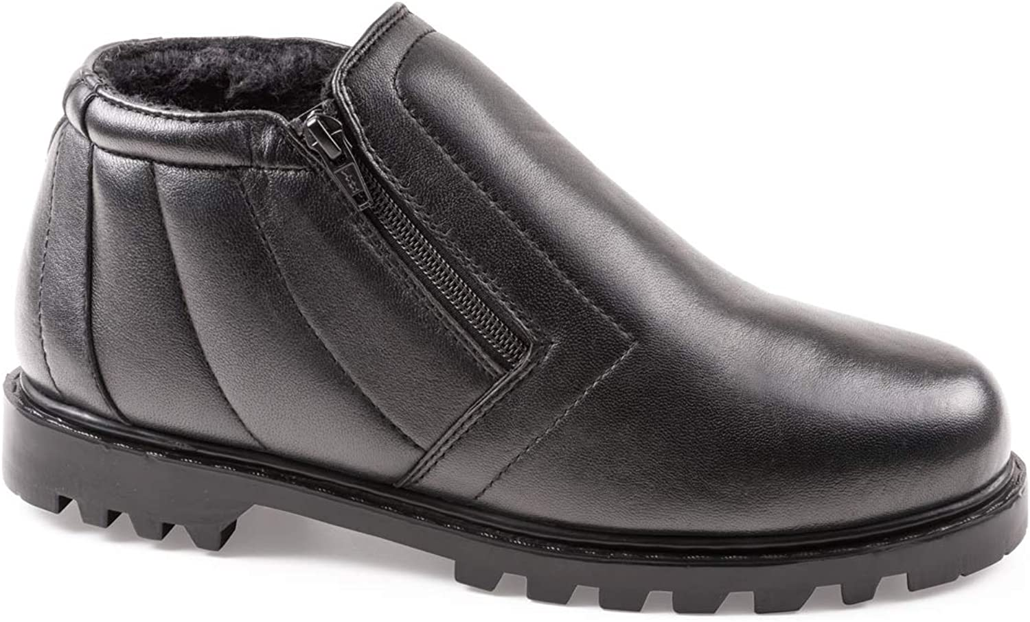 Mens Leather Wide Fit Twin Zip Boot