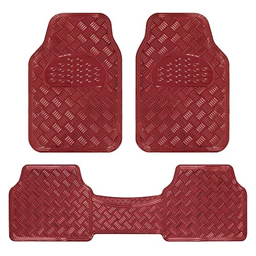 BDK Universal Fit 3-Piece Set Metallic Design Car Floor Mat-Heavy Duty All Weather with Rubber Backing (Wine Red), MT-643-RD