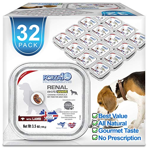 Forza10 Wet Dog Food Kidney RENAL ACTIWET with Lamb 3.5oz, Adult Dog Food Wet, Renal Support Canned Dog Food, 32 Pack Case