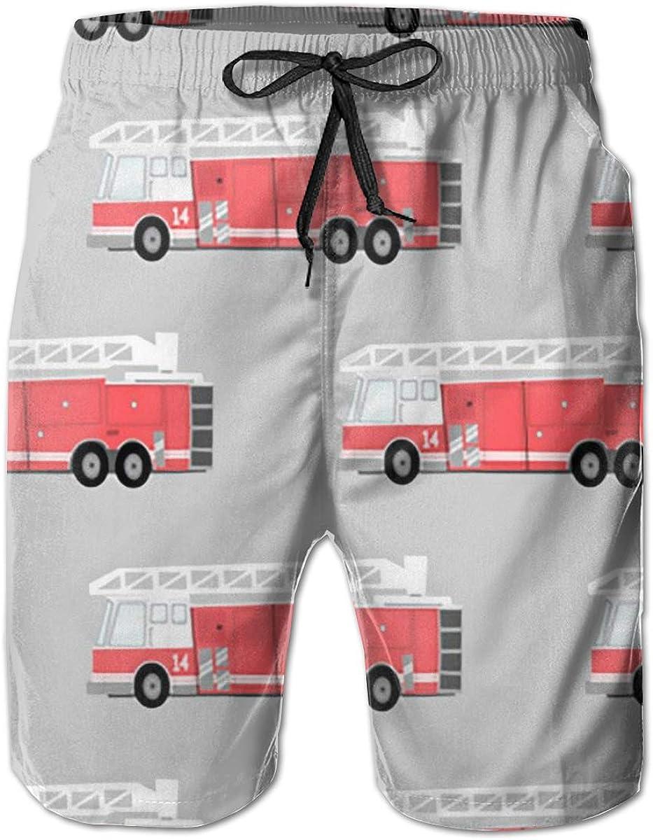 Limited time sale Yt92Pl@00 Men's 100% Polyester Jacksonville Mall Cartoon Trunks F fire Swim Truck