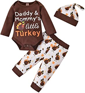 Newborn Infant Baby Boy Girl Clothes Outfits, Infant Romper Onsies Pants Cute Toddler Hat Turkey Clothes Set