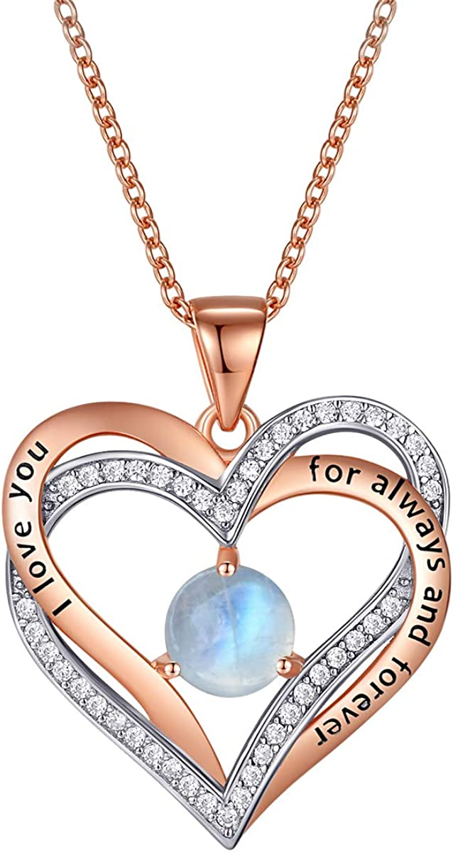 Angol Love Heart Moonstone Necklace Silve for Sterling 925 Ranking Atlanta Mall TOP19 Women