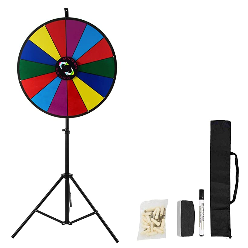 Happybuy 24 Inch 18 Inch Tabletop Color Prize Wheel with Folding Tripod Floor Stand 14 Slots Colorful Dry Erase Trade Show Fortune Spinning Prize Wheel for Spin Game Carnival