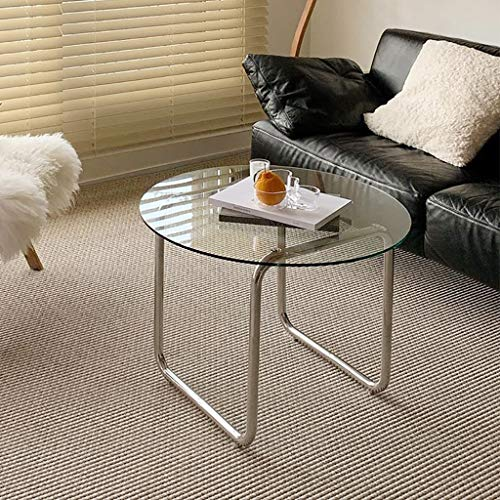 ZWJLIZI Coffee Table, Minimalist Stainless Steel Mini Tea Table, Home Living Room Leisure Tempered Glass Round Table (Color : Transparent Color)