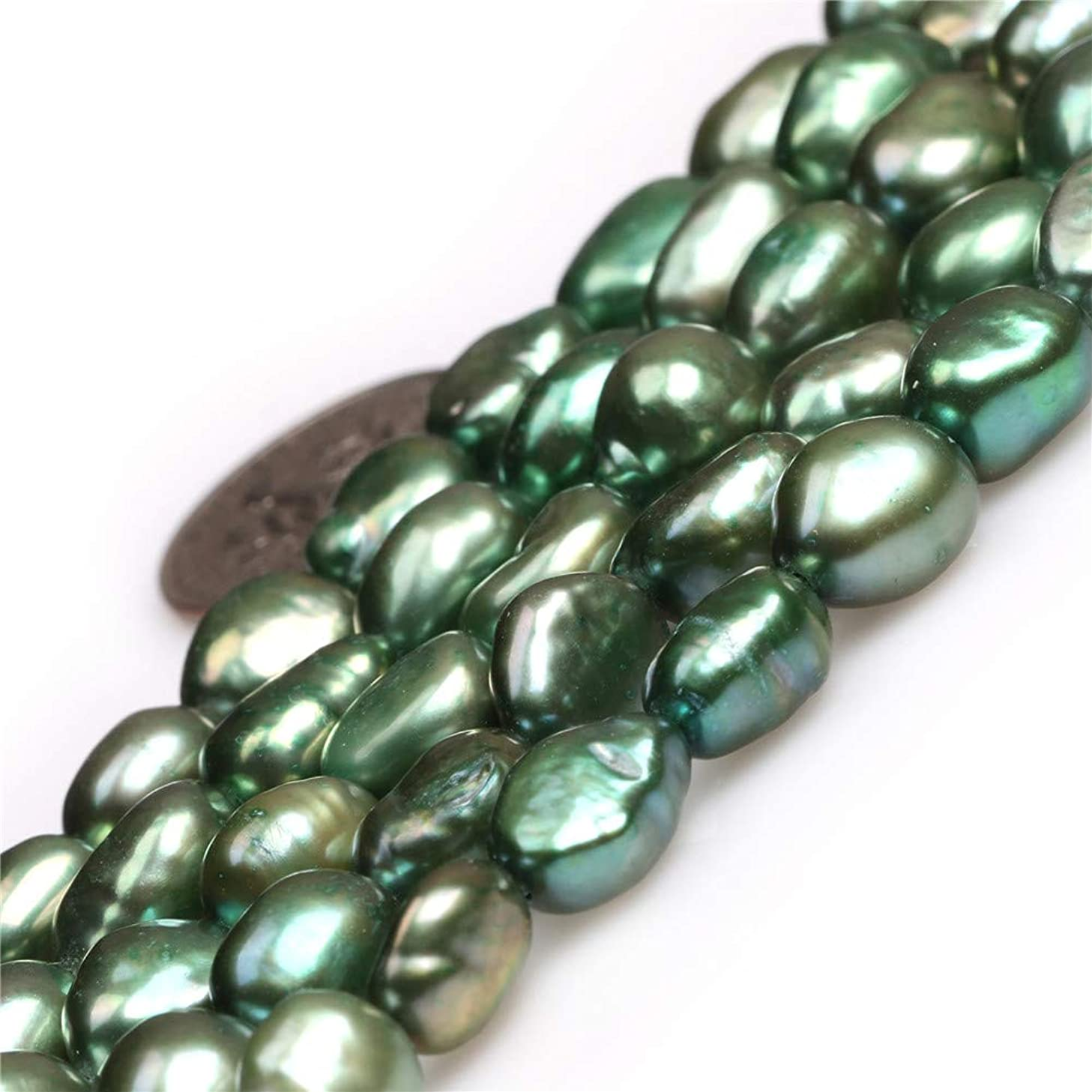 JOE FOREMAN 8-9X10-11mm Freeform Green Cultured Pearl Loose Beads for Jewelry Making DIY Handmade Craft Supplies 15 ginqej5747105