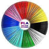 3D Pluma Filamento, Tecboss PLA Filamento para Impresión 3D, 1.75mm 10 Colores 3D Filament para Niños y Adultos Impresión 3d, Sin Burbujas y Insípido