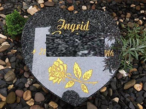 Granitherz Grabstein Liegestein Herz Impala 30cm x 30cm x 6cm inklusive Gravur und Stützkeil Urnengrabstein Herz aus Granit 30cm x 30cm x 6cm
