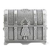 Caja antigua de almacenamiento de aleación de zinc Caja de regalo de joyería de boda de pequeño cofre del tesoro pirata