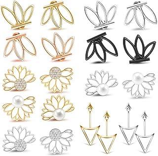 10 Pairs Ear Jacket Stud Lotus Flower Earrings for Women...
