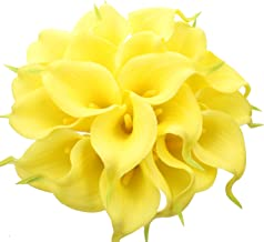 Duovlo 20pcs Calla Lily Bridal Wedding Bouquet Lataex Real Touch Artificial Flower Home Party Decor (Yellow)