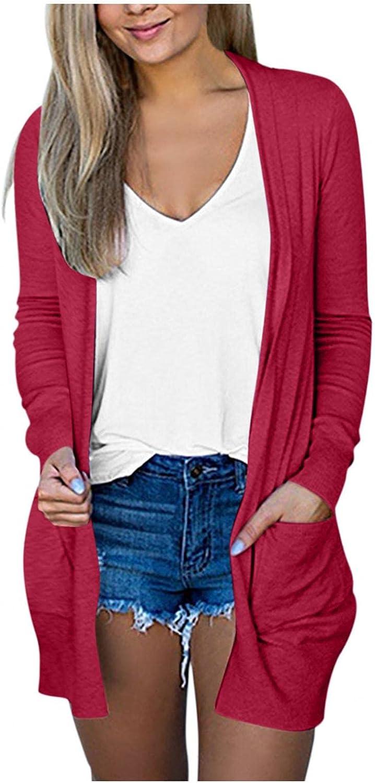 FABIURT Women's Open Front Cardigan Shirt with Pockets Long Sleeve Lightweight Fall Kimono Jackets Coat Outerwear