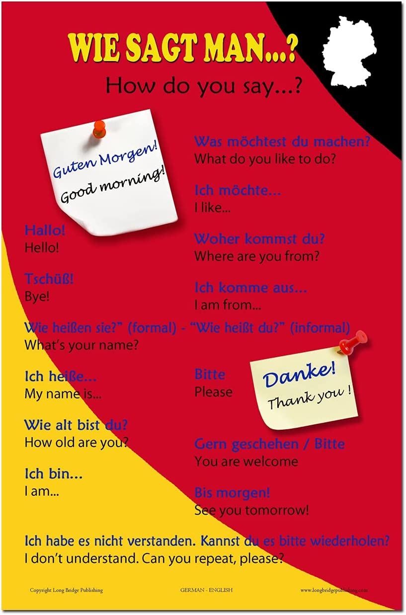 Limited time for free shipping Max 83% OFF ESL Language School Poster - Bilingual Greeting Common German-E