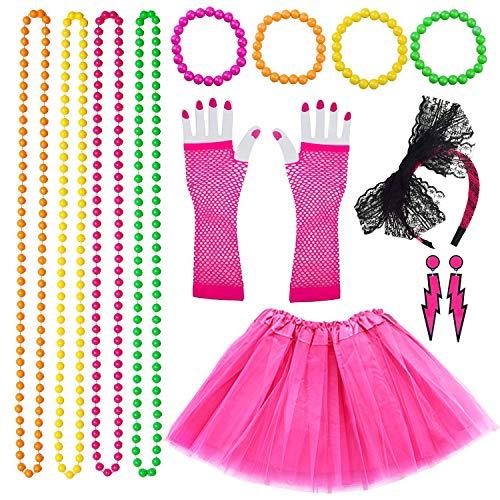 VSTON 80s Disfraz de Disfraces para Mujeres niñas Adultos 80 Vestidos para Mujeres, Accesorios de Fiesta, neón con Faldas tutú relámpago Aros Venda Malla Guantes Cuentas Collar 1980 Fiesta Disfraz