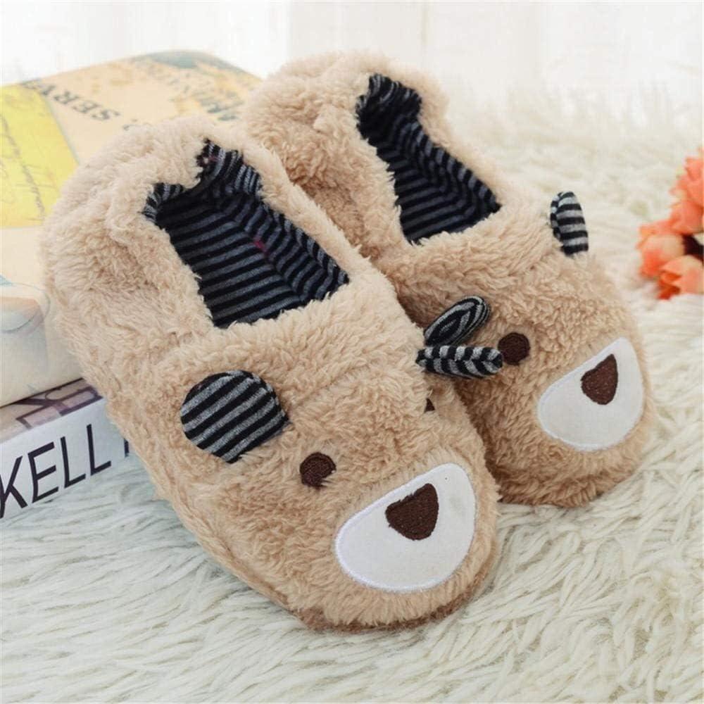 YIWANGO Children Warm Winter Slippers Boys Girls Cute Cartoon Bear Slipper Kids Indoor Warm Shoes Child Home Floor Shoes Winter Cotton Slippers (Color : Khaki, Size : 9.5/10 UK Child)