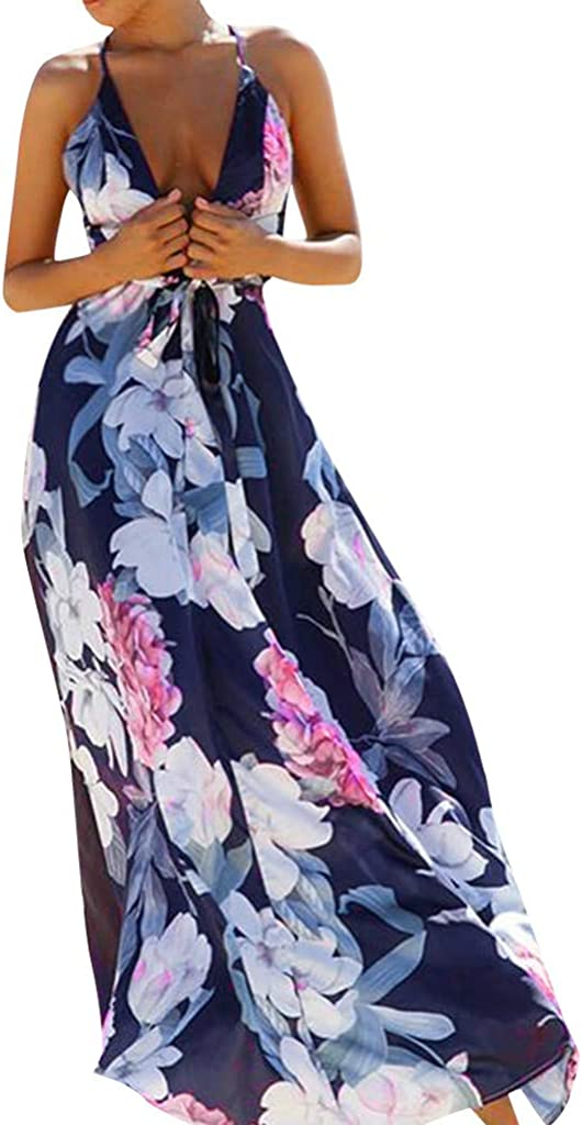 yoyorule Casual Summer Dress Women's Floral Bodycon Derss Elegant Sleeveless Backless Beach Long Dress Navy