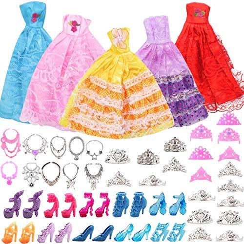 55 Kleidung Schmuck Zubehör Hochzeit Party Abendkleider für Puppen = 5 Kleider + 20 Schuhe + 10 Ketten + 20 Kronen für11,5 Zoll Mädchen Puppen
