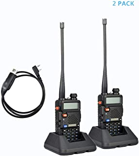 2Pack Baofeng UV-5R Dual-Band 136-174/400-480 MHz Ham Two-way Radio + Programming Usb Cable + Software Disk Kit(Black)