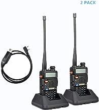 2Pack Baofeng UV-5R Dual-Band 136-174/400-480 MHz Ham Two-way Radio + Programming Usb Cable + Software Disk Kit(Black)