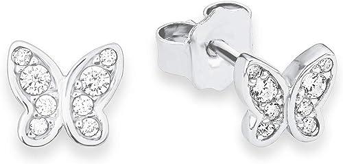 s.Oliver enfants boucles d'oreille adolescents filles 6mm papillons argent rhodié 925oxyde de zirconium blanc 92331...