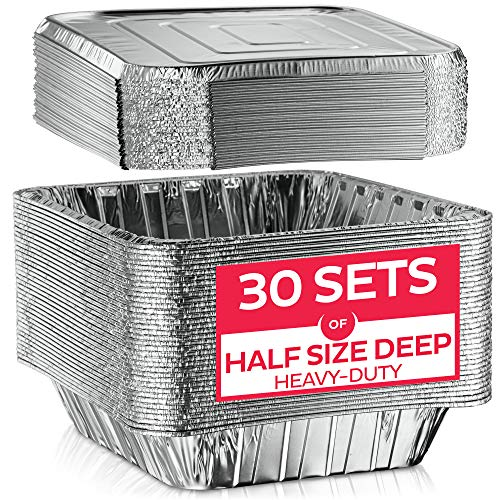 Aluminum Foil Pan with Lids-9x13 Half-Size Deep [30 Sets] Heavy-Duty Steam Table Pans, Disposable Tin-Foil Container, Ideal for Cooking, Roasting, Baking, Heating, and Food Prep