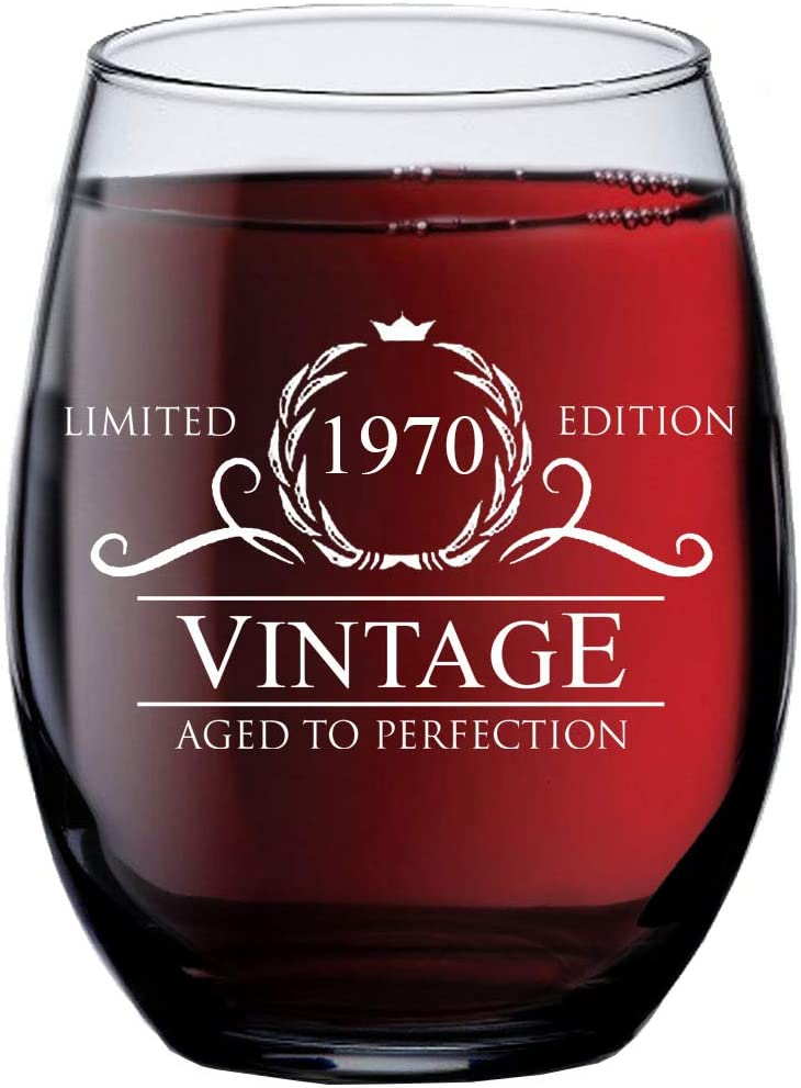 51st Birthday Gifts for Women 1970 Sacramento Mall oz Max 65% OFF Wine - Stemless 15 Glass