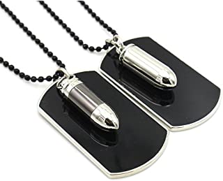 LAFATINA Mens Bullet Dog Tag Pendant Necklace, Stainless Steel Bible Lords Prayer Ashes Urn Keepsake Memorial Bullet Pendant Necklace for Men Women Boys