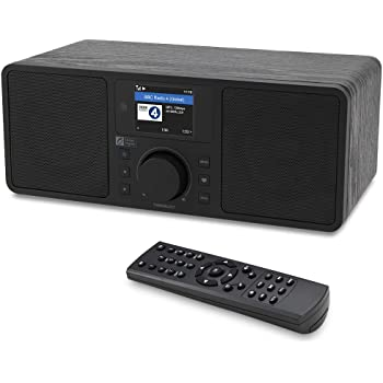 """Ocean Digital WiFi/FM Internet Radio WR230S Alarm Clock Radio with Bluetooth Receiver & Ethernet Port, Stereo Speakers, Line Out, Aux in, 20,000+ Stations, 2.4"""" Color Display- Black in Wooden Case"""