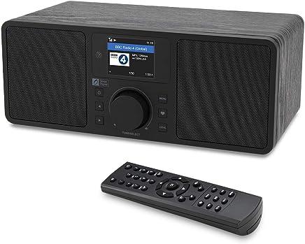"""Ocean Digital WR230S Internet Radio WiFi/DAB/FM Radiosveglia da Tavolo con Ricevitore Bluetooth e Porta Ethernet,Doppio Altoparlante,Uscita Audio,Aux In,Display a Colori da 2,4""""-En Legno"""