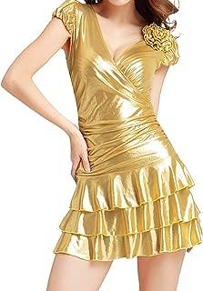 Quesera Women's Cocktail Dress Metallic Ruched Waist Tiered Bodycon Mini Clubwear
