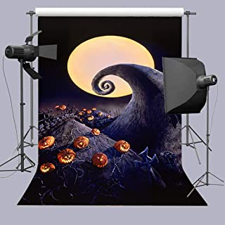 Full Moon Halloween Horror Nights Pumpkin Patch Photography Backdrop Hallowmas Tombstones The Nightmare Before Christmas Photo Booth Props Background Baby Shower Party Banner Vinyl 5x7ft Cake Table