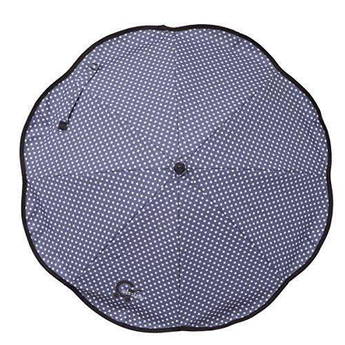 Sonnenschirm Design 649 mit Universalhalterung von Gesslein – Sonnenschutz für Kinderwagen & Buggys│70cm Durchmesser, biegsam, 3-fach verstellbar, für Rund- und Ovalrohre, Sterne blau/weiß