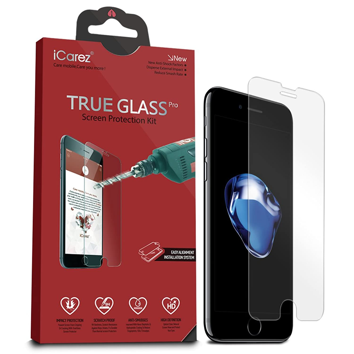 iCarez [Tempered Glass] Screen Protector for iPhone 8 iPhone 7 4.7-inch Easy Install [ 2Pack 0.33MM 9H 2.5D]