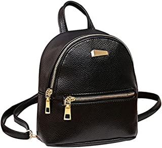 Donalworld Women Floral School Bag Travel Cute PU Leather Mini Backpack S Black3