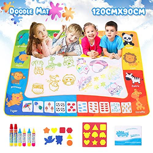 SPLAKS Acqua Doodle Tappeto, Tappeto Magico Bambini 120 *90cm, con 6 Penne Magiche,1 Set di Francobolli , 9 Stampi e 1 Libretto di Disegni e 1 Zaino per Bambini