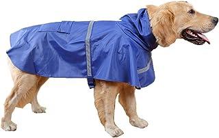 GenialES Ligera Chubasquero para Mascota Pequeños Medianas y Grandes Chaqueta para Lluvia Impermeable con Banda Reflectante para Perro Azul XL:24