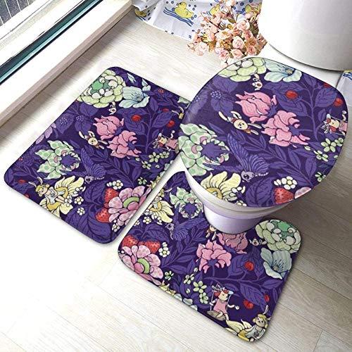 The Garden Party Blueberry Tea Version 3 pièces tapis de salle de bain antidérapants ensemble coussinets antidérapants de salon tapis de bain + couvercle de toilette