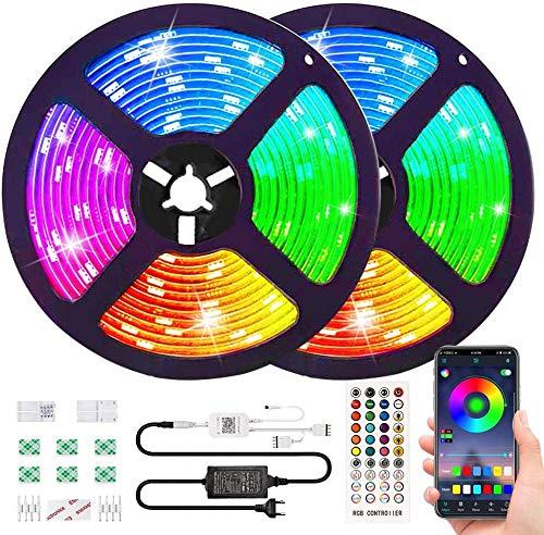 Bluetooth Striscia LED RGB Musicale 10M Autoadesiva Strisce Luminosa 12V LED Strip RGB Impermeabile/Flessibile/Accorciabile/Collegabile/App Led Illuminazione Strisce Decorative per Interni/Esterni