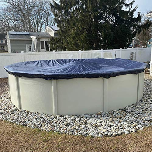 Winter Block Aboveground Pool Winter Cover, Fits 18' Round, Solid Blue – Includes Winch and Cable for Easy Installation, Superior Strength & Durability, Treated for UV Protection, WC18R, 18', Black