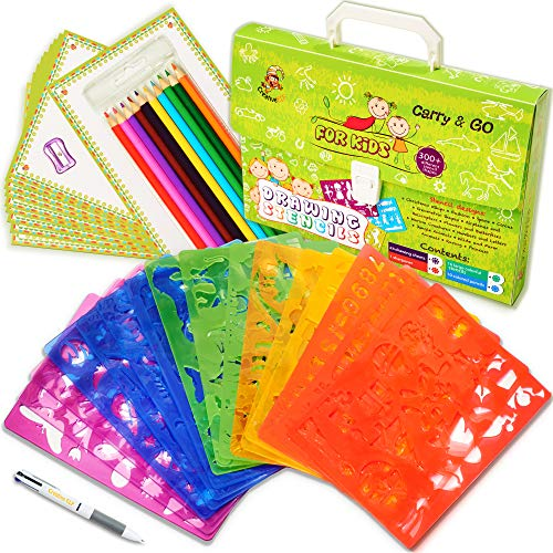 Drawing Stencils Set for Kids (54-Piece) - Arts and Crafts for Girls & Boys with Over 300 Shapes - Ideal Kids Gifts & Home Activities - Perfect Creativity Kit & Travel Activity