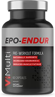 ViMulti EPO-Endur Pre Workout Capsules for Runners and Cyclist – Increase Endurance, More Power, and Increases Speed All While Burning Fat - Reduce Muscle Fatigue and Lactic Acid Burning (60 ct)