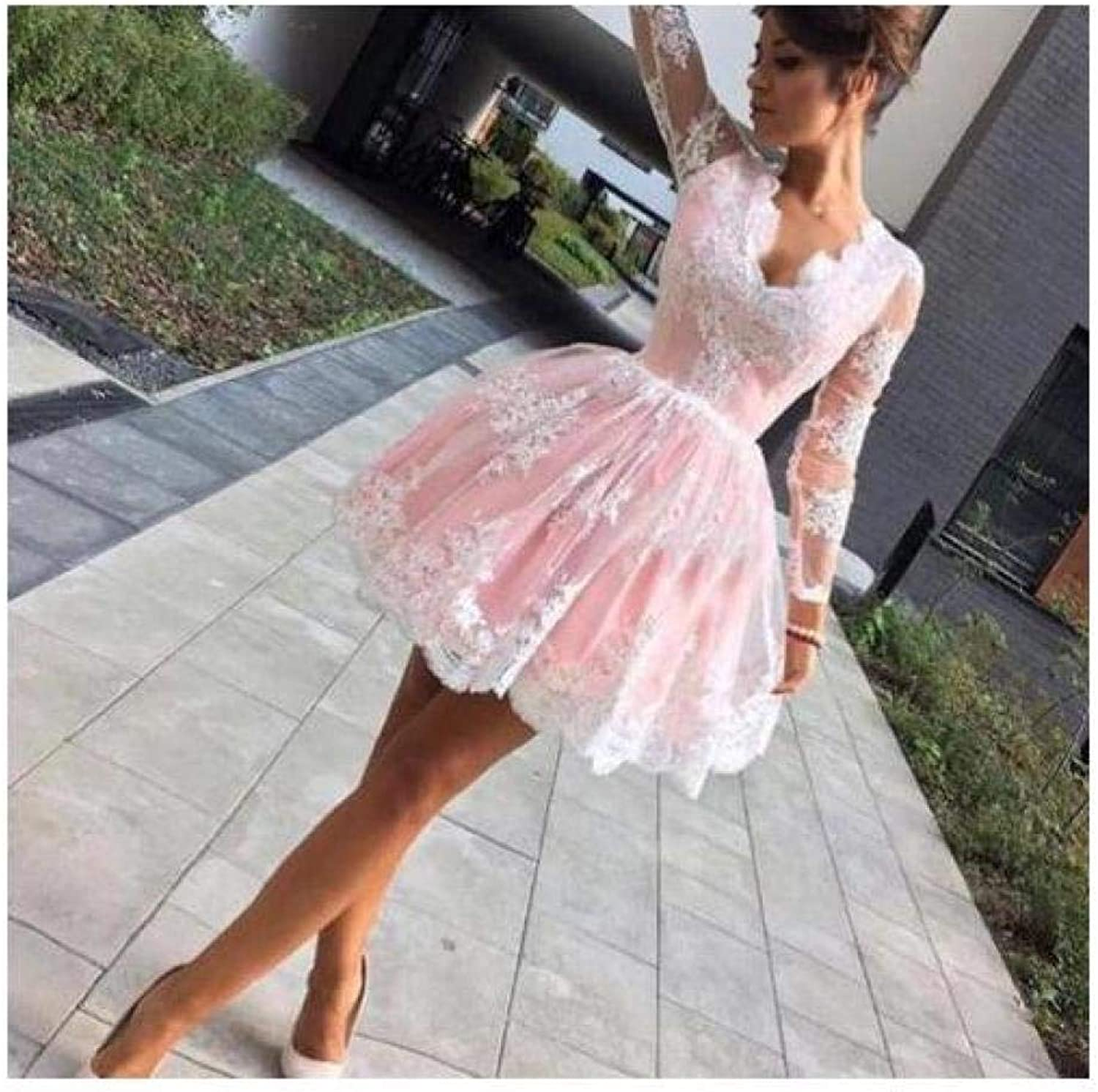 FidgetGear Long Sleeve Formal Pink Lace Short Homecoming Party Prom Dress Evening Dresses