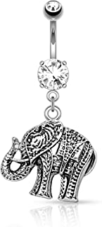 14G Good Luck Dangle Elephant Belly Button Ring Surgical Steel Curved Navel Piercing Barbell