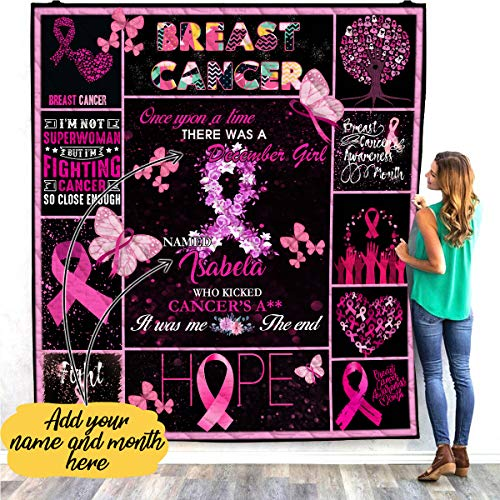 Personalized Custom Breast Cancer Awareness Quilt Fleece Throw Blankets Comforter Tapestry Decorations Birthday Christmas Pink Ribbon Gifts for Women Survivor Warrior Mom Daughter Aunt Grandma Girls